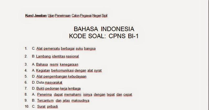 Bank Soal Kunci Jawaban Latihan Soal Tes Cpns Bahasa Indonesia Kode Cpns Bi 1