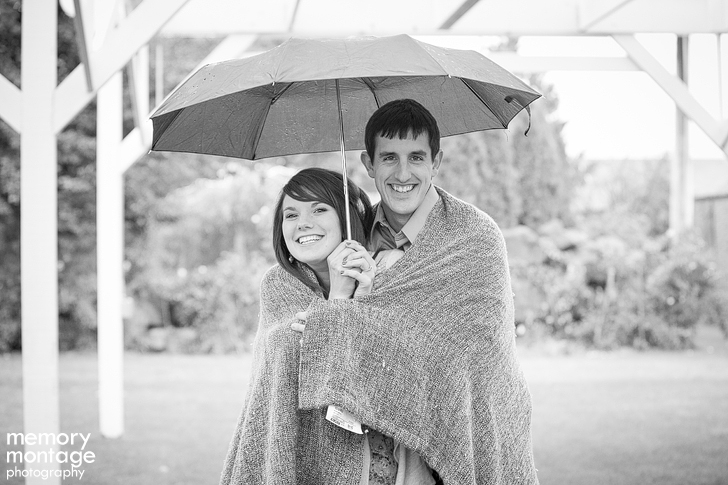 yakima engagement photo in rain by memory montage