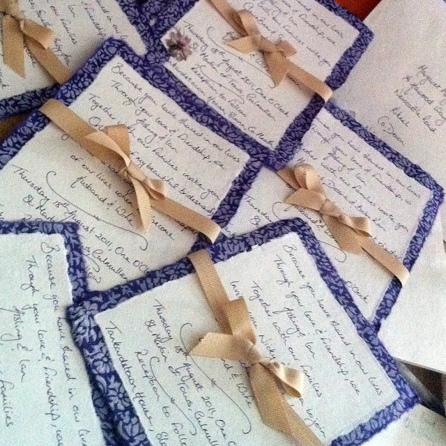 Wedding invitations made using Daintree paper