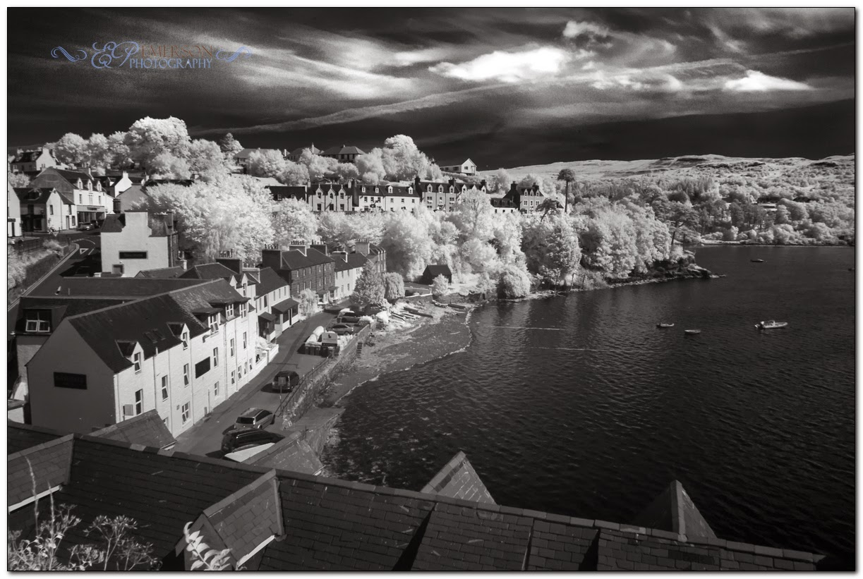 infrared photo of portree skye by emerson photography