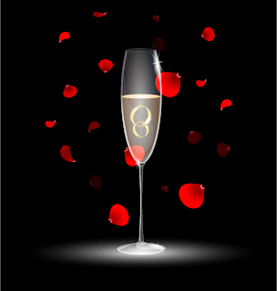 花弁とシャンパングラス champagne petals vector material イラスト素材