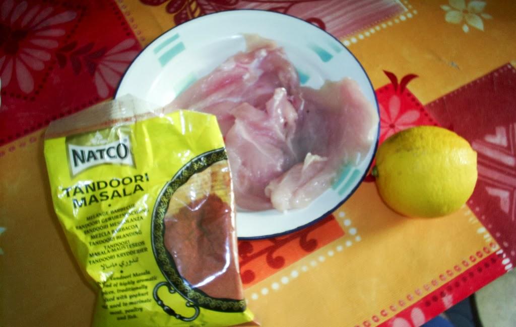 Adobo: Pollo, tandoori masala, aceite de oliva y limón