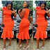 Long Decent Dress, Orange color wear