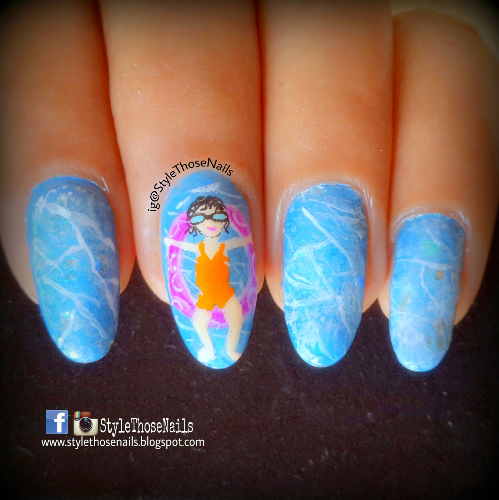 Style those nails swimming pool nails golden rose paris nail so what you think of this nailart and nail lacquer isnt it fun i hope you are also enjoying summer swimming is great way to beat the heat but sad i prinsesfo Choice Image