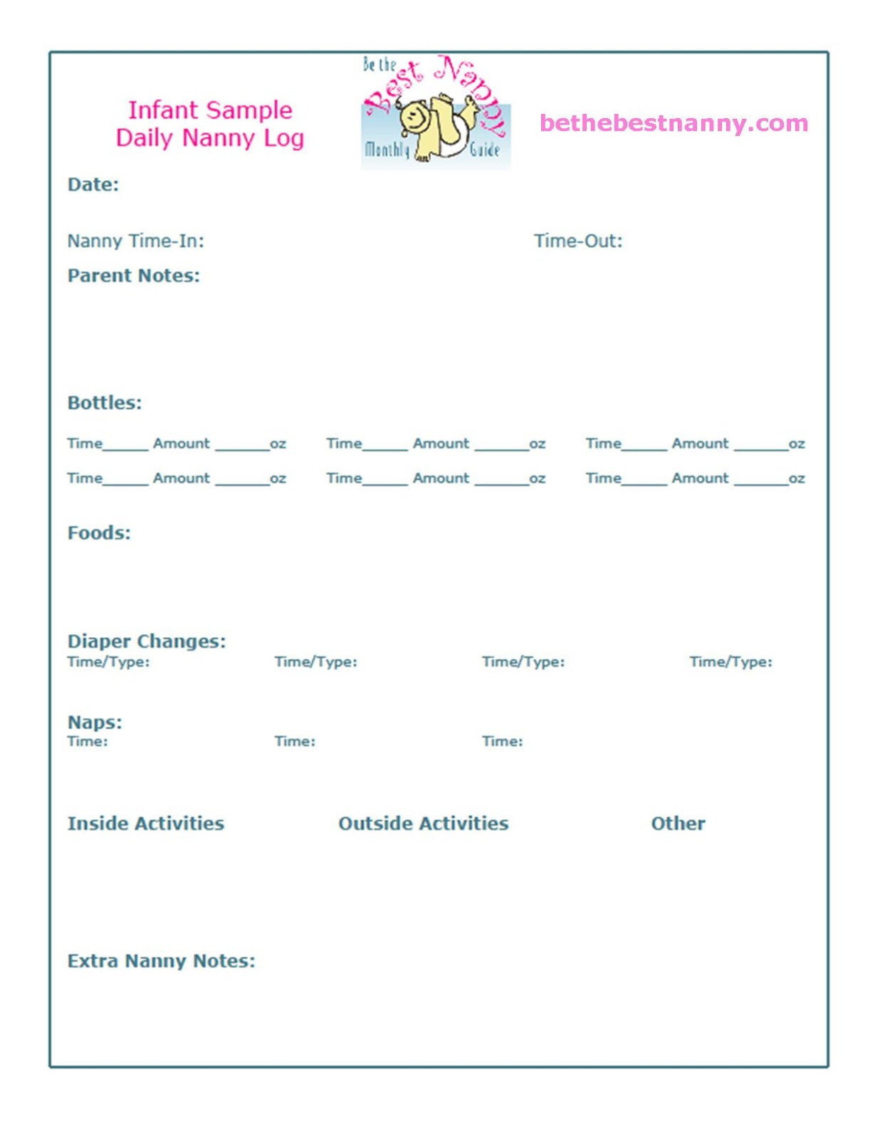 Nanny Daily Log Sheets – Sample Log Sheet