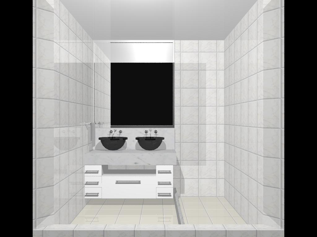No banheiro da suíte bancada em mármore branco duas cubas e