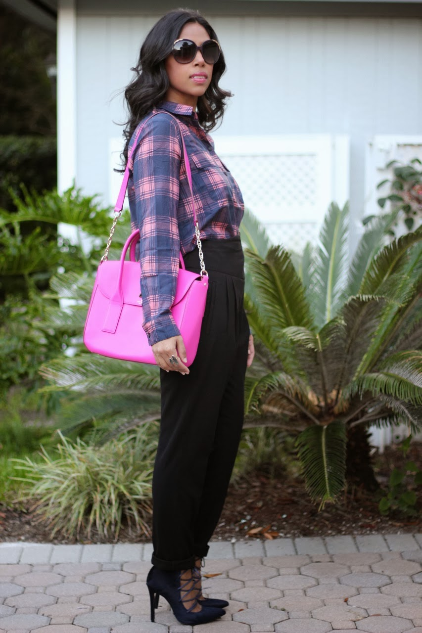 Gap plaid shirt ASOS pants Schutz Alameda navy designer fur kate spade neon hot pink chloe sunglasses