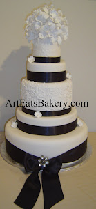 5 tier custom unique elegant Black and white wedding cake design with sugar orchid flower topper, r
