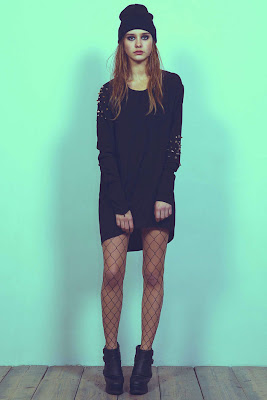 Simple black dress and beanie