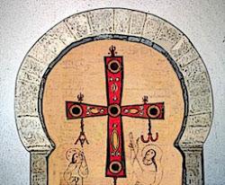 Composición cruz Álvaro de Córdoba con arco de la iglesia de Hermedes de Cerrato