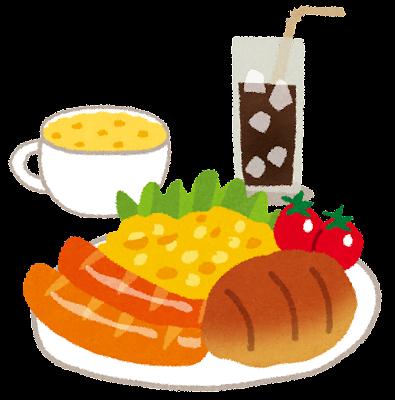 朝食セットのイラスト「パン・スクランブルエッグ・ウインナー・サラダ・スープ・コーヒー」