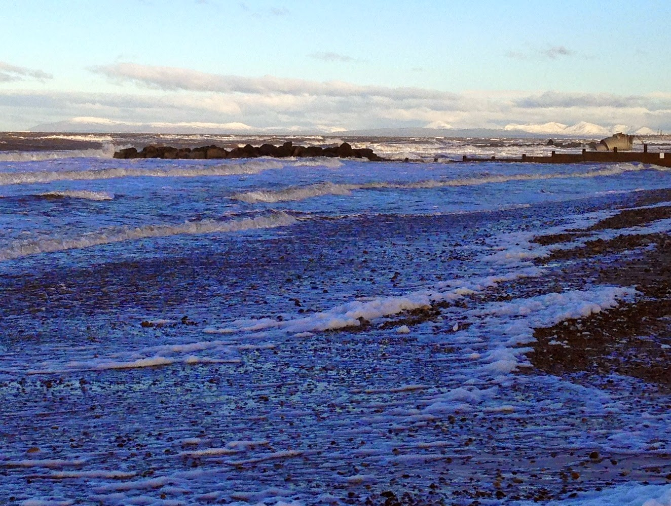 Blackpool Beach, Morecambe Bay, Snowy mountains, sunrise, lake district, Golden Mile