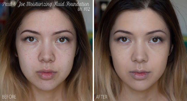 paul and joe moisturizing fluid foundation in 102 nude shade before and after