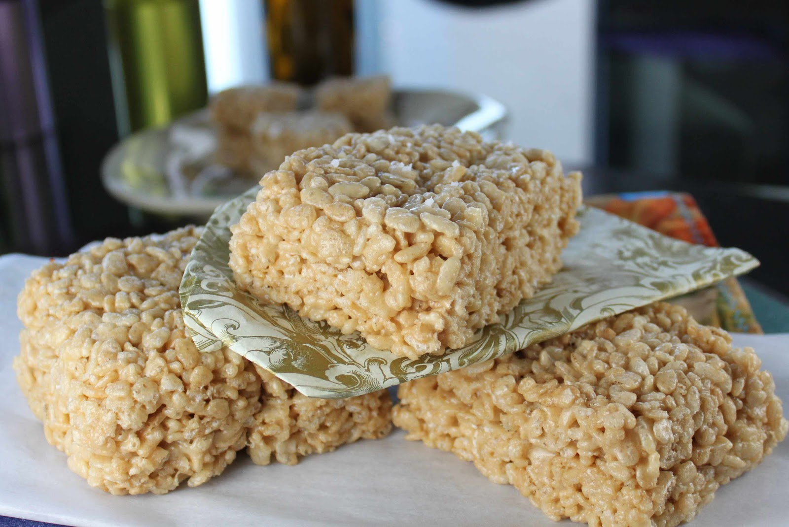 Fat and Happy Blog: Caramel Rice Krispie Treats with Smoked Sea Salt