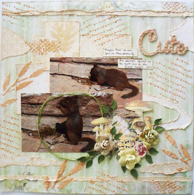 Scraps of Elegance scrapbook kits: Lynne Joncas created this sweet squirrel layout with our Lisa's Sweet September Kit.
