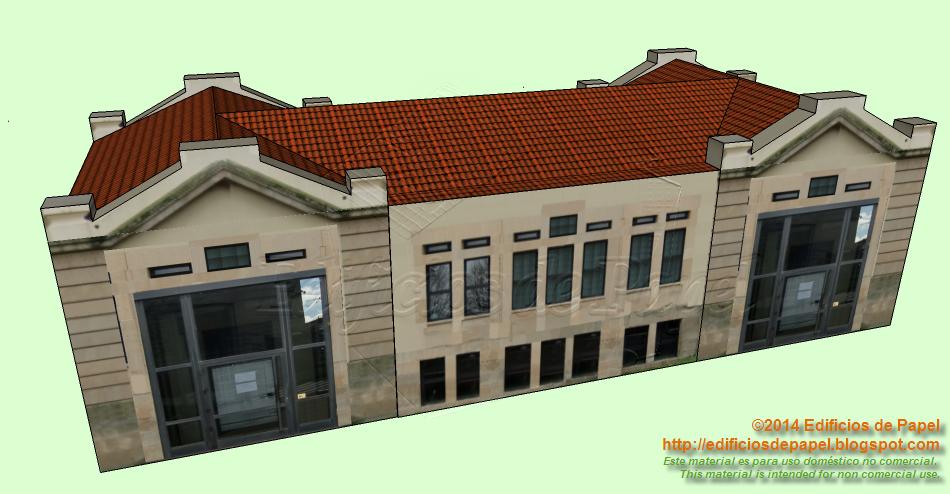 Maqueta de papel de gran pabellón en el Hospital de Beneficencia de Ourense