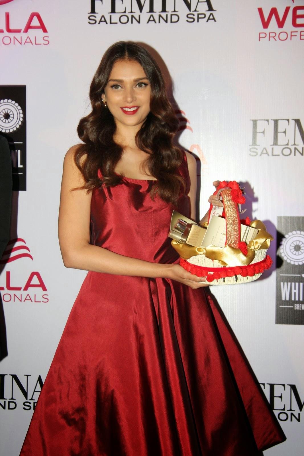 Actress Aditi Rao Hydari Latest Cute Hot Red Dress Spicy Photos Gallery At Femina Salon and Spa Magazine Launch