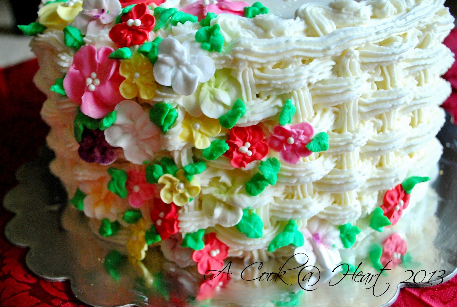 How To Make A Basket Of Flowers Cake : A cook heart basket cake of flowers