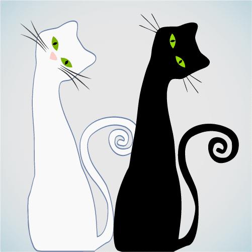 Gato blanco y gato negro - Vector