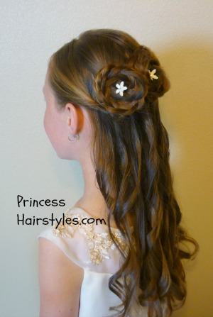 rosette bun half up formal hairstyle