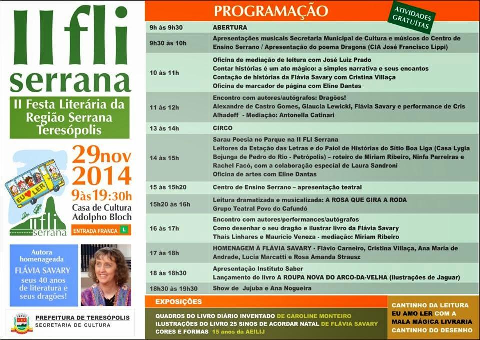 Casa de Cultura de Teresópolis recebe a II Fli Serrana neste sábado, 29
