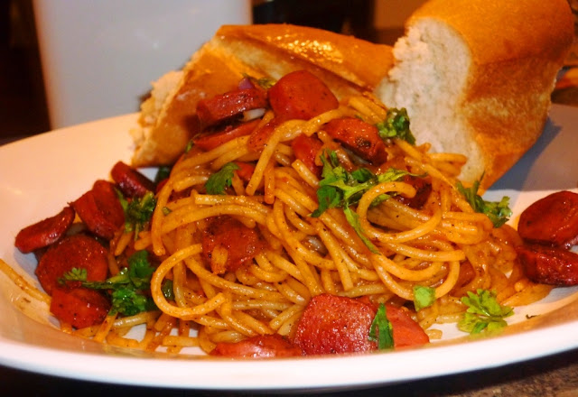 Italian,Spicy dinner with spaghetti