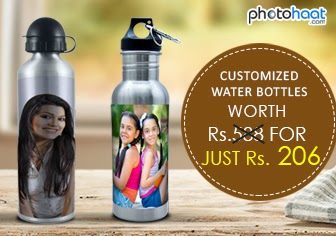 Buy Customized Water Bottles Upto 50 % Off + Additional 30 % Discount Rs. 206 only at Photohaat.