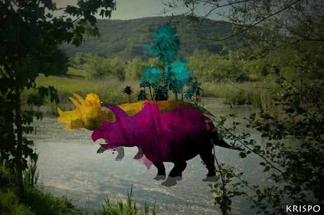 dos triceratops en el humedal de hondarribia