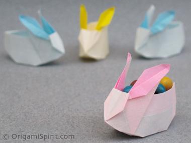 พับกระดาษ   พับกล่องกระต่าย