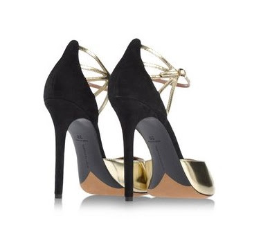 Tabitha Simmons black and gold ankle strap high heels