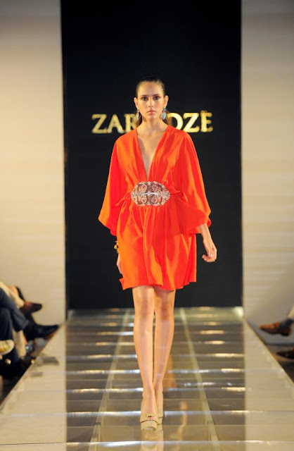 Orange Zardoze dress with daring neckline