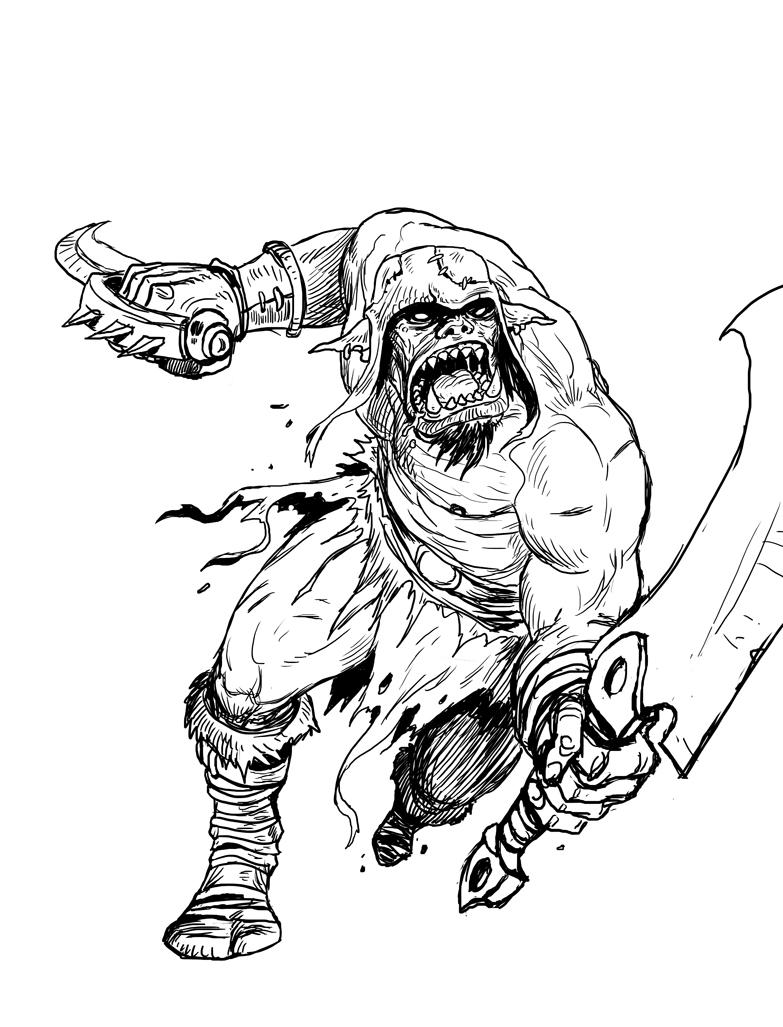 Illustration style fantasy Ork1NB