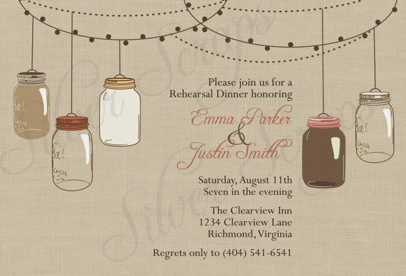 rustic linen engagement party invitation with mason jars in brown blush pink rose