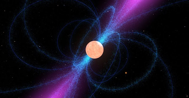 Still image from an animation of a pulsar. Credit: NASA.