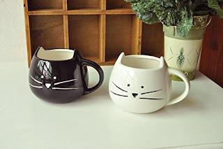 Black and white cute cat mugs