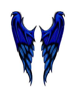 blue demon angel wing tattoo designs