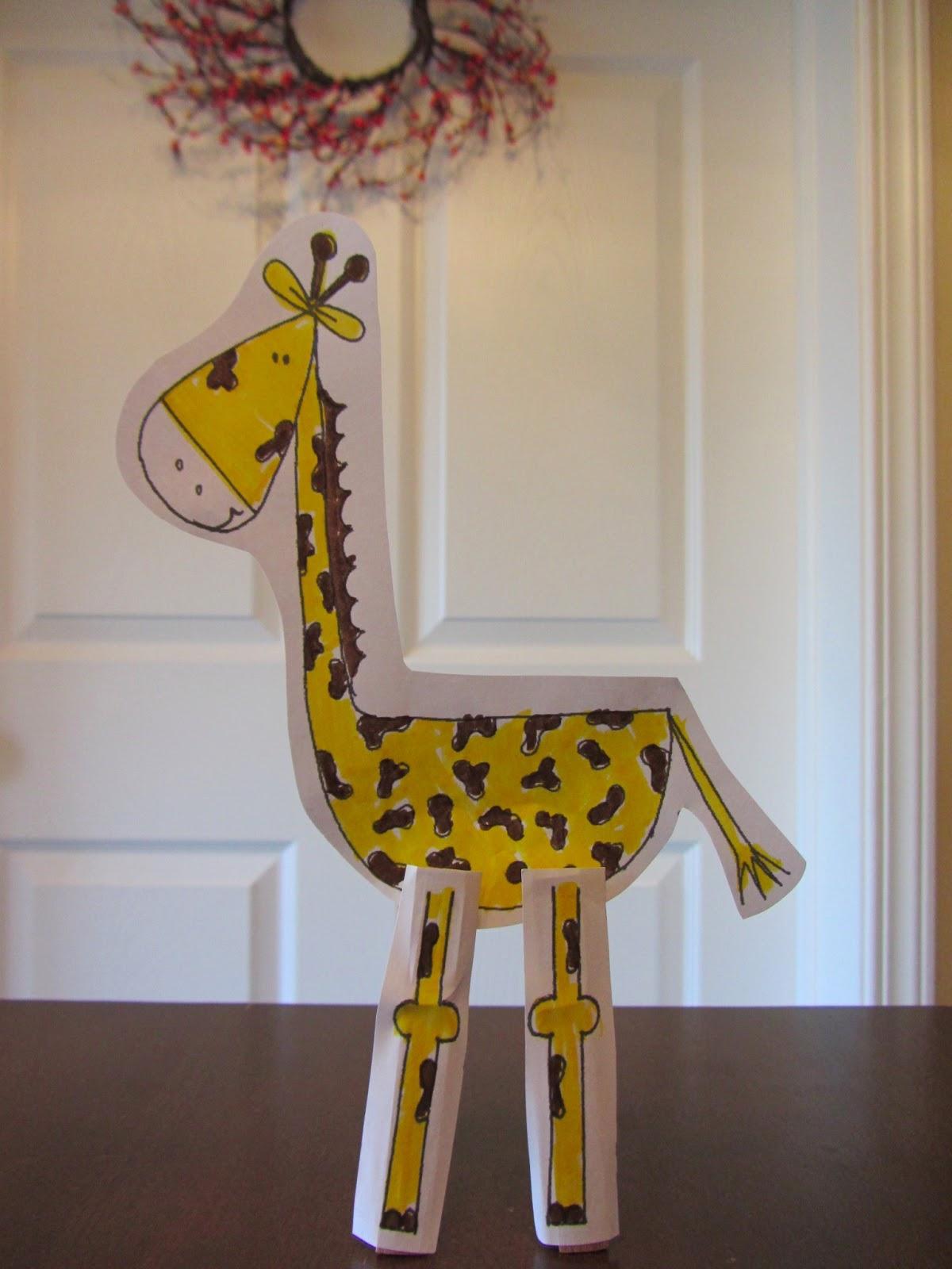 Spring Time Treats Clothespin Giraffe Free Printable