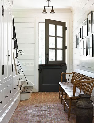 This front door makes a statement with itu0027s rustic charm. I love dutch doors and glass panes that allow light to flood into a foyer or entryway. & entryway black doors foyer classic timeless appeal hardware dutch ... pezcame.com
