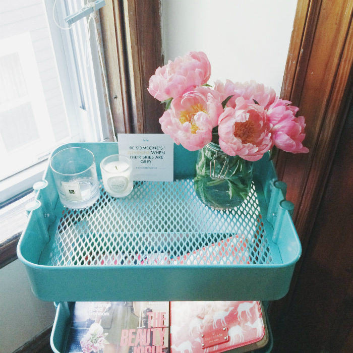 How To Style Ikea's Raskog Cart, Boston, Boston Fashion Blog, Boston Beauty Blog, Grown Up Girlie Decor, Interior Design, Raskog, Pink Peonies, Boston Interior Design, Ikea Hacks
