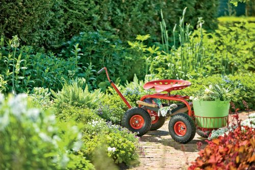Total Fab Heavy Duty Rolling Garden Cart with Seat Ease the