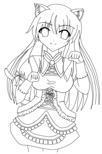 Free Coloring Pages Of Anime Girl Lineart Anime Neko Coloring Pages Printable
