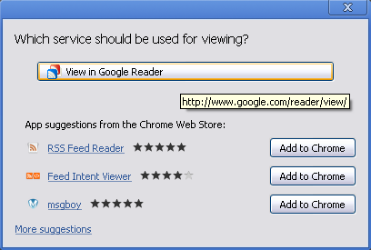 Google Chrome 21 Web Intents feed viewer