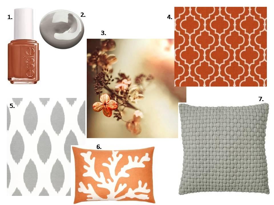 Kelsey M Design Burnt Orange Grey