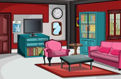 Glitter Red Living Room Escape