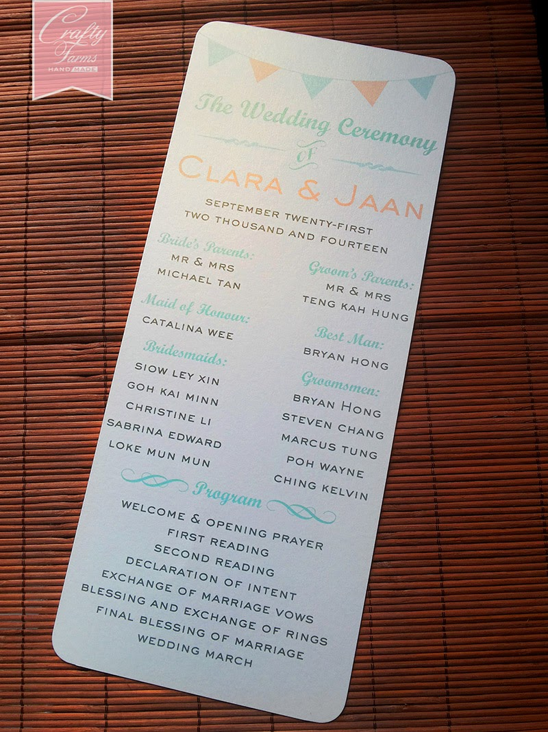 Wedding Program Flat Card for Church Ceremony