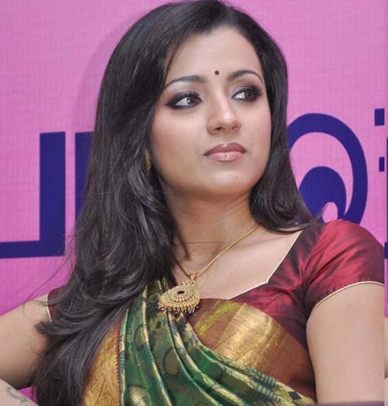 Cute Looking Trisha in Pattu Kathan Saree and Short Sleeve Blouse actress wallpapers