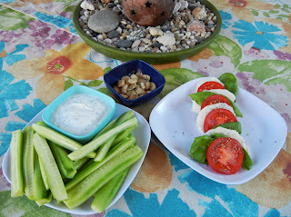 Caprese+Salad+Cucumber+Greek+Yogurt+Herb+Dip+Rosemary+Marcona+Almonds Weight Loss Recipes A day in my pouch