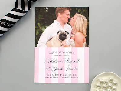 formal save the date, photo card, engagement announcement, pink stripes