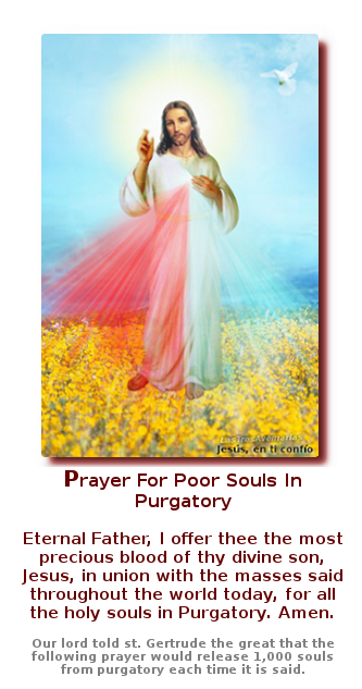 photo with prayer for purgatory jesus mercy