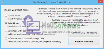 cara mudah masuk ke safe mode secara aman dengan software foolishit bootsafe